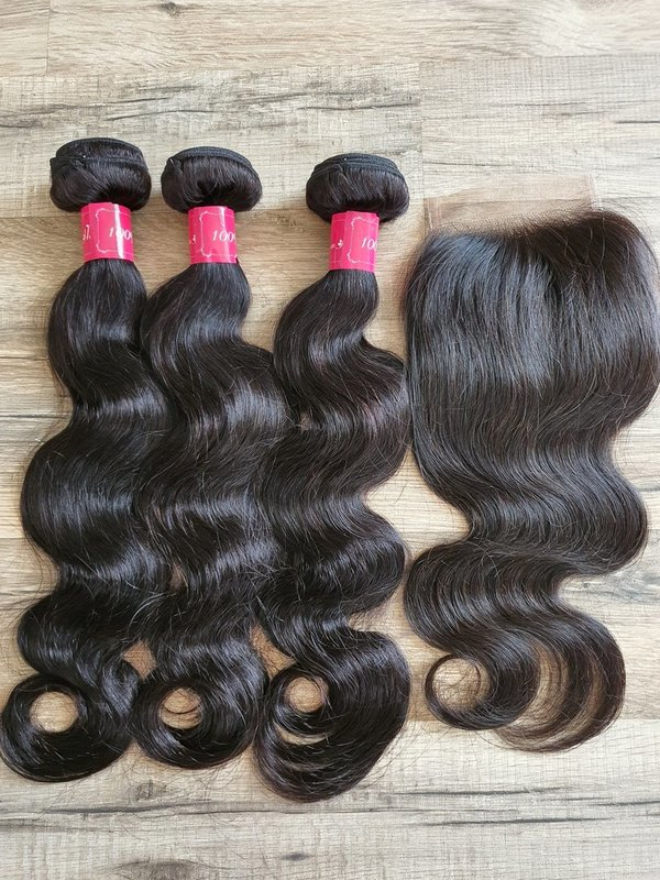 3 Pcs Hair Extension body wave 50 50 50cm (20 20 20inch) + Closure 4x4 35cm (16inch)