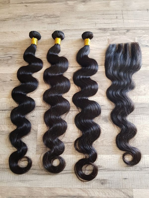 3 Pcs Hair Extension body wave 75 75 75cm (30 30 30inch) + Closure 4x4 60cm (24inch)