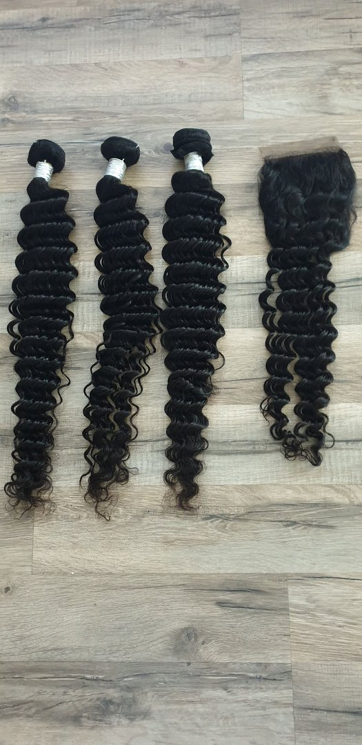 3 Pcs Hair Extension deep wave 65 65 65cm (26 26 26inch) + Closure 4x4 55cm (22inch)