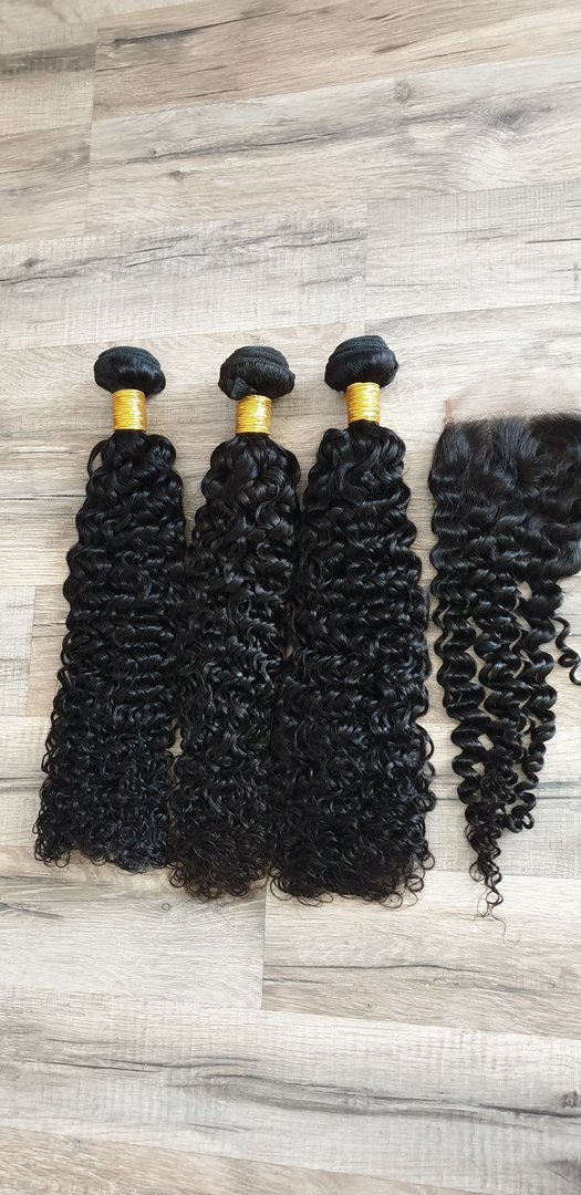 3 Pcs Hair Extension jerry curly 60 60 60cm (24 24 24inch) + Closure 4x4 50cm (20inch)