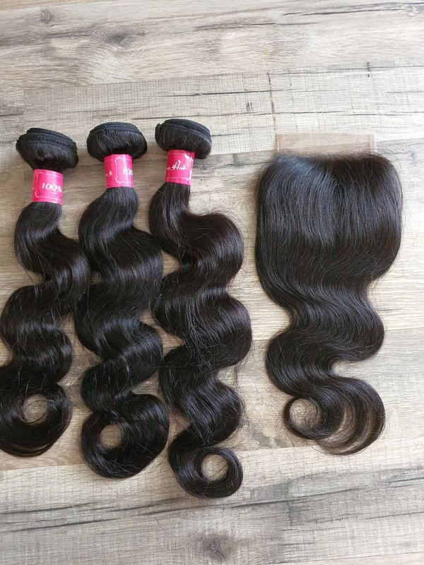 3 Pcs Hair Extension body wave 45 50 55cm (18 20 22inch) + Closure 4x4 35cm (16inch)