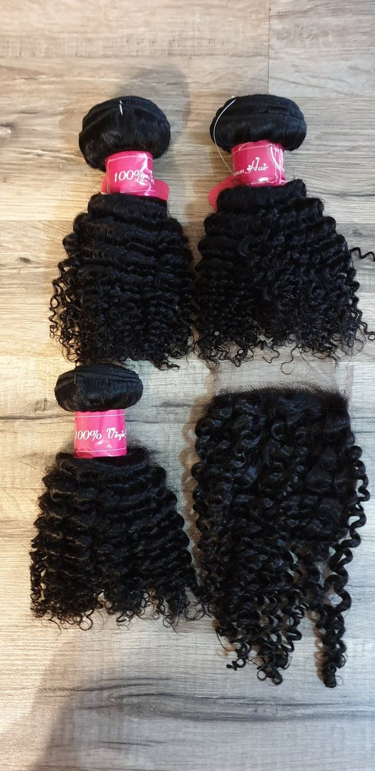 3 Pcs Hair Extension kinky curly 25 25 25cm (10 10 10inch) + Closure 4x4 20cm (8inch)